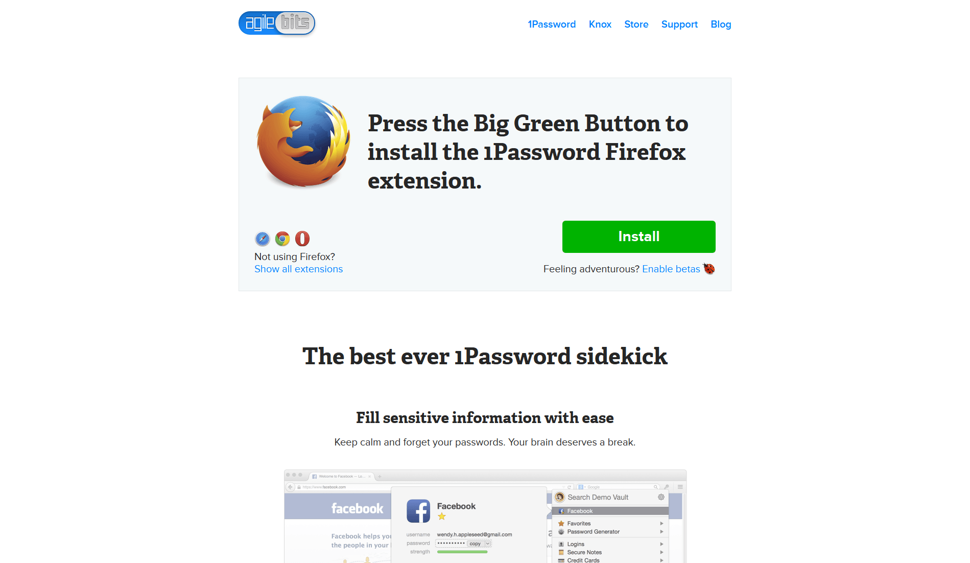 1Password Browser Extensions