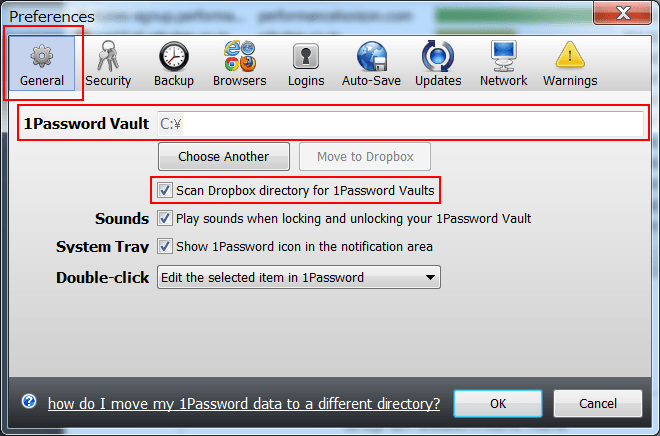 1Password ドロップボックスのディレクトリパスを設定し、Scan Dropbox directory for 1Password Valutsのチェックを入れる