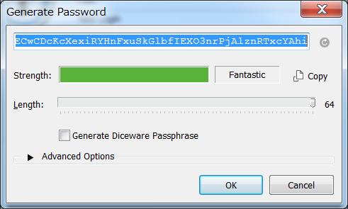 1Password パスワード生成 最大で64文字まで生成
