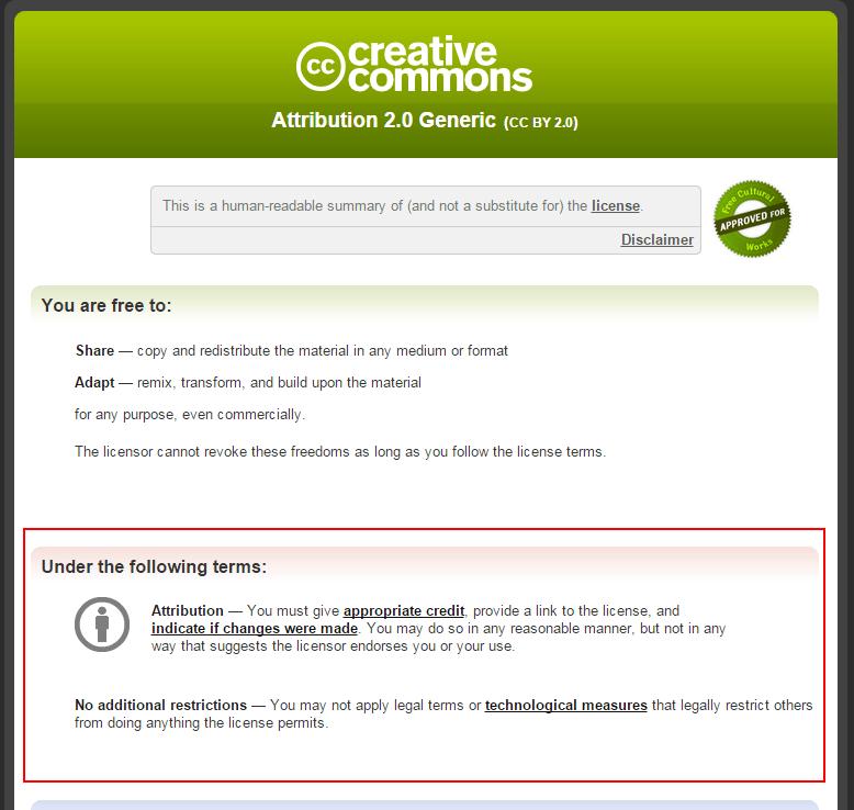 creativecommonsのページに移動