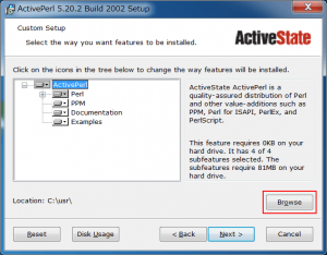 ActivePerl ブラウズを選択