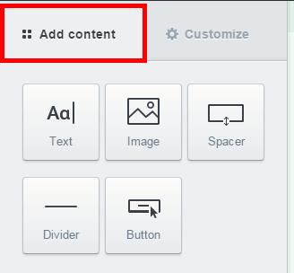 Campaign Monitor 「Add content」で画像の挿入やテンプレートのボタンを変更