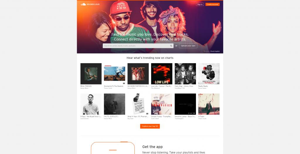 SoundCloud トップページ