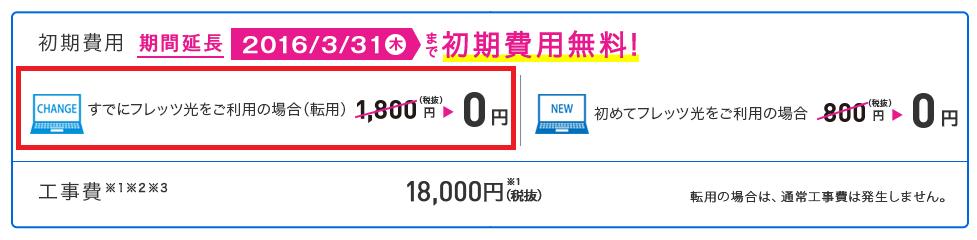IIJmioひかり 初期費用(転用手数料)の無料キャンペーン