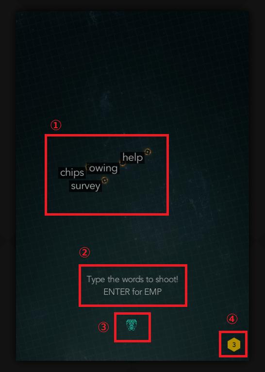 ZType ゲーム画面