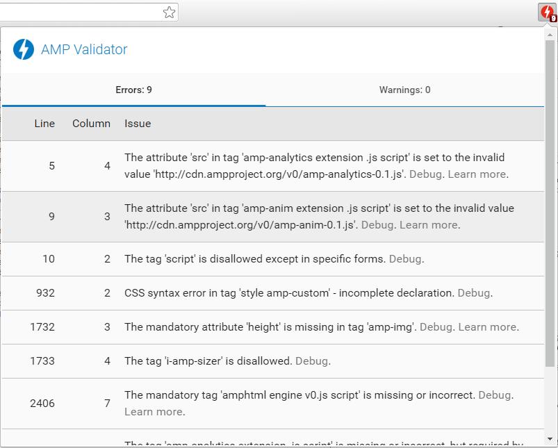 「AMP Validator」エラーの行数とエラー内容が表示