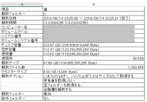 DiskInfo 解析情報をExcelで表示