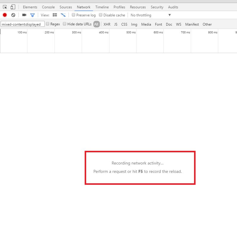 Chromeブラウザ デベロッパー・ツール 混在コンテンツが一覧で表示