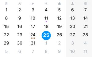Fantastical 2 for iPhone 週末の強調表示は「土日」の背景色がグレーになる