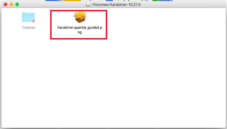 「Karabiner」 アプリアイコンをクリック