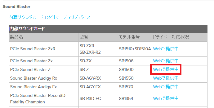 Creative Windows10用ドライバ一覧