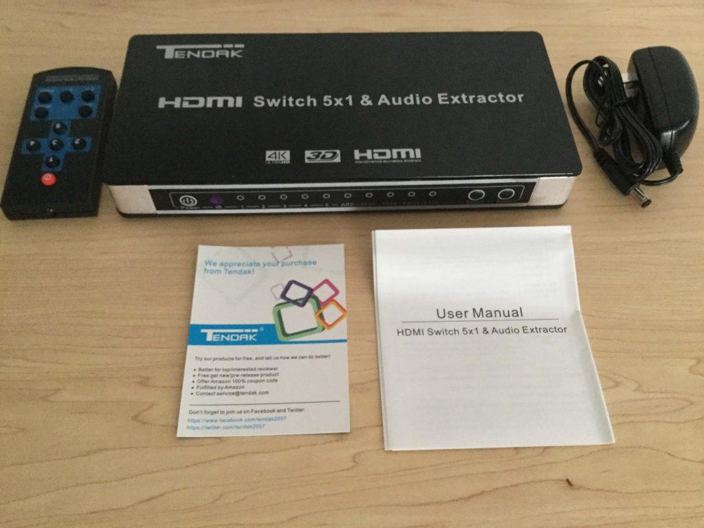 Tendak 4K x 2K HDMI 5x1セレクター 内容物