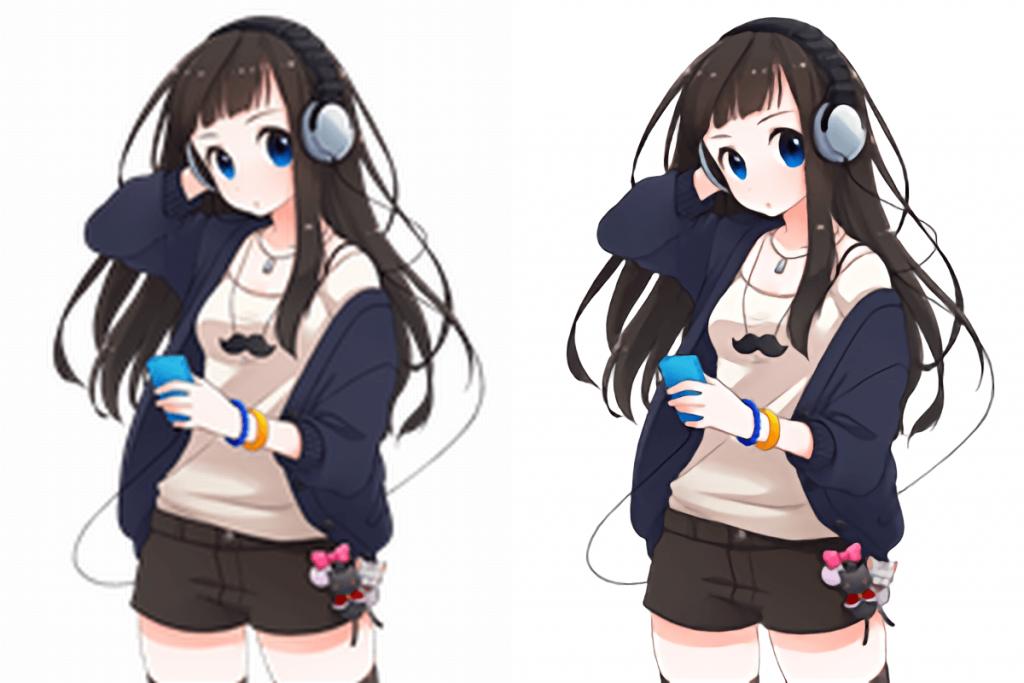 waifu2x-caffe (for Windows) 普通のソフトと「waifu2x-caffe」で拡大した画像