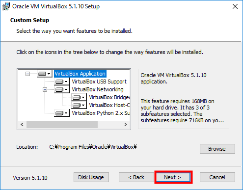 VirtualBox インストール項目を確認した後「Next」をクリック
