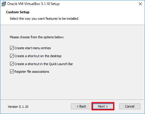 VirtualBox ショートカットなどが生成されることを確認し「Next」をクリック