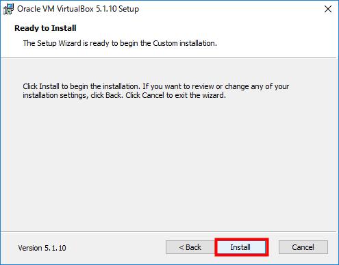 VirtualBox メッセーシを読み、よければ「Install」をクリック