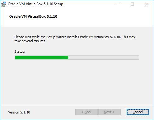 VirtualBox VirtualBoxのインストールが始まるので待つ
