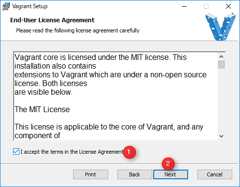 vagrant 規約に同意し、「Next」をクリック