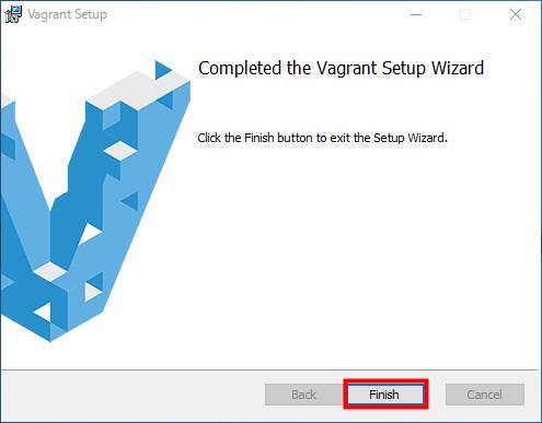 vagrant メッセージを確認し、「Finish」をクリック