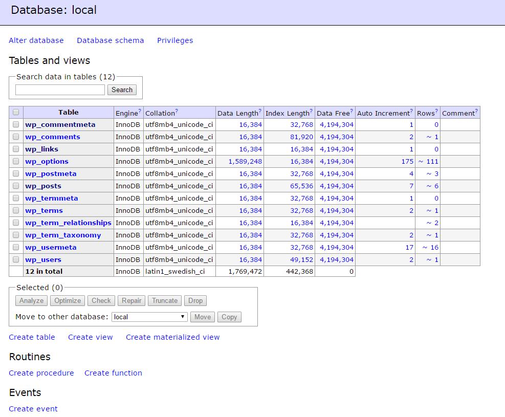 Local by Flywheel 「Adminer」をクリックすると、データベースが表示される