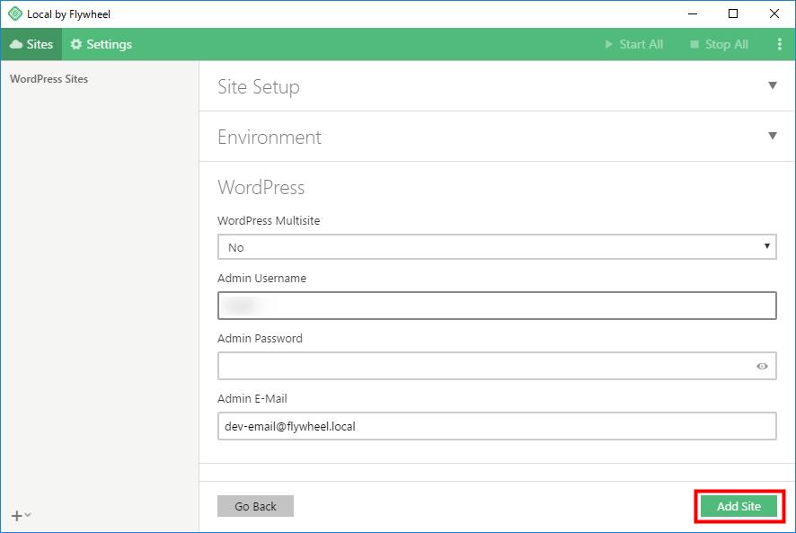 Local by Flywheel マルチサイトの有無を決め、管理画面のユーザー名とパスワードを入力し、再度「Next」をクリック