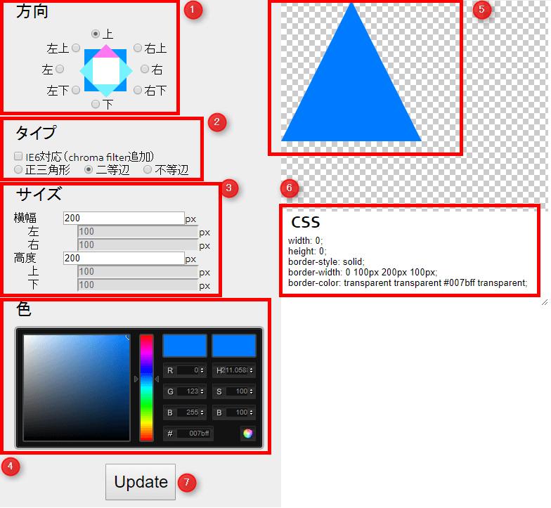 CSS三角形作成ツール 見方