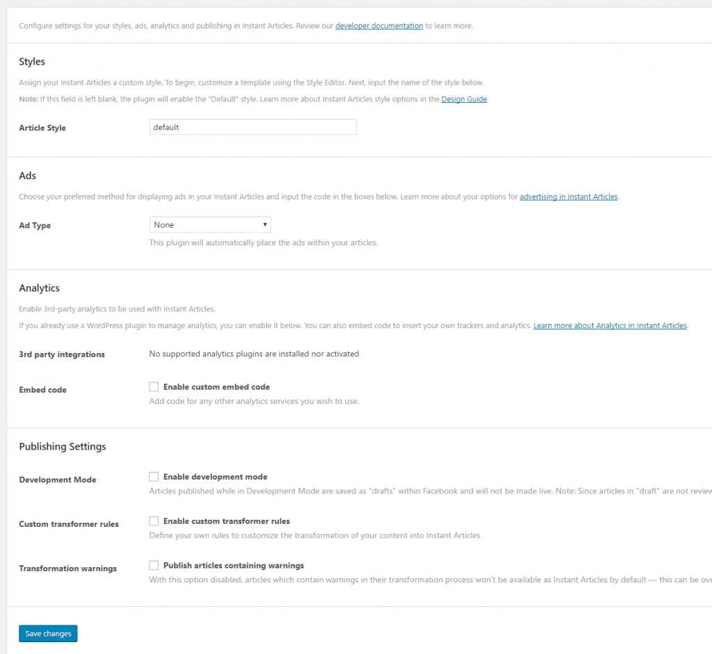 Instant Articles 詳細設定が同ページに表示される