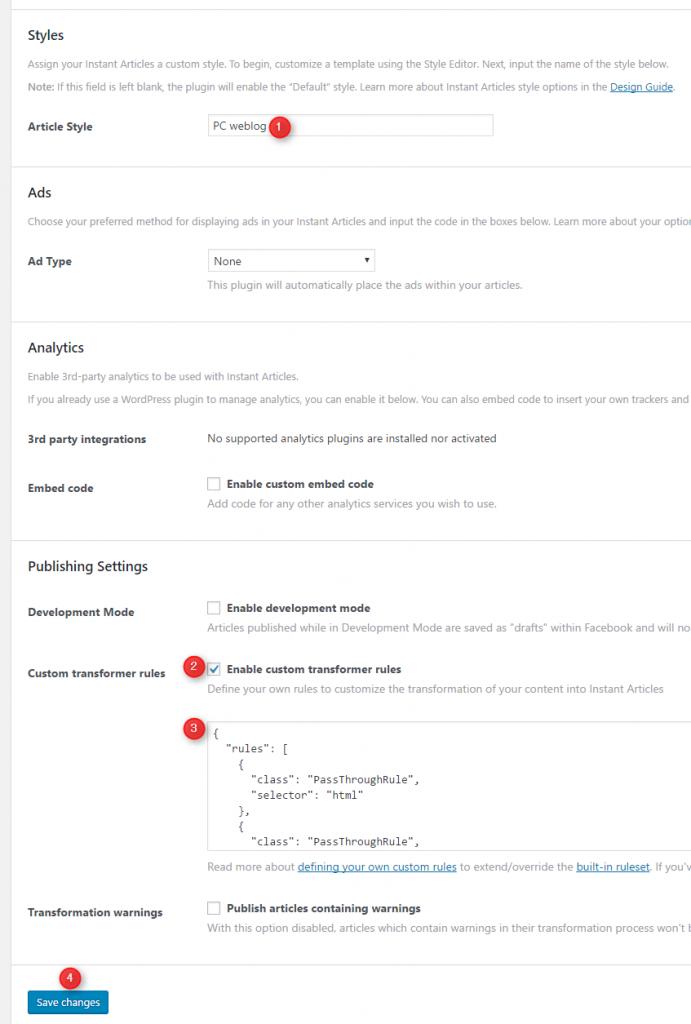 Instant Articles デザインスタイルと「Transformer Rules」を設定する