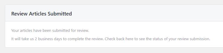 Instant Articles レビュー待ちのメッセージが表示