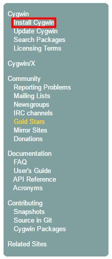Cygwin 「Install Cygwin」をクリック
