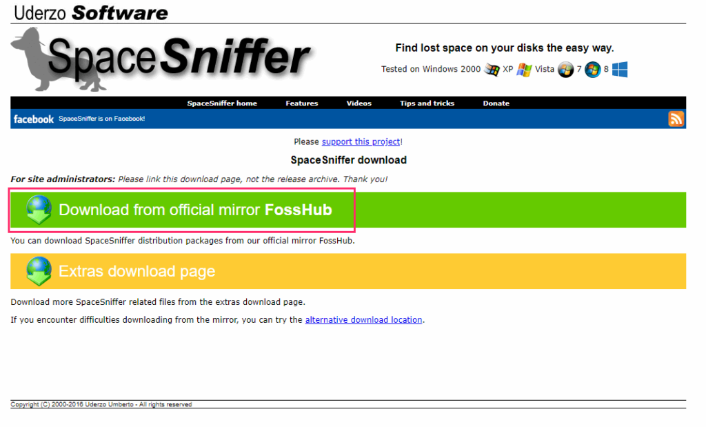 SpaceSniffer 「Download from official FossHub」をクリック