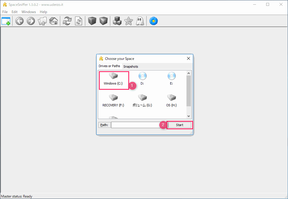 SpaceSniffer 調べたいディスクドライブを選択し、「Start」ボタンをクリック
