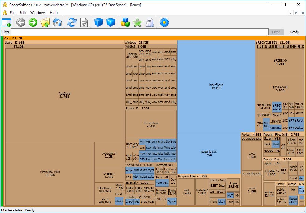 SpaceSniffer 容量が大きいフォルダやファイルは視覚的に大きく表示される