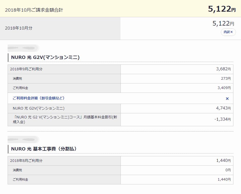 NURO 光 G2V(マンションミニ)月額の料金請求額