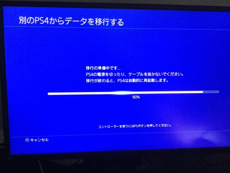 PS4 ProにPS4のすべてのデータをコピーする データを移行する準備が始まるので待つ