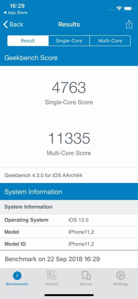 iPhone XS CPUベンチマーク