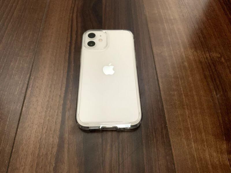 iPhone 12 mini ケースを付けた背面